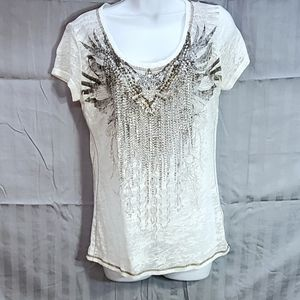 💛 Miss Me white blingy  top size large
